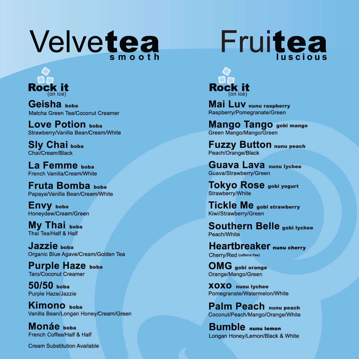 BOBA TEA COMPANY MENU